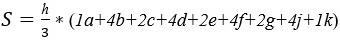 Формула площади до угла крена 40 градусов через 5 градусов.