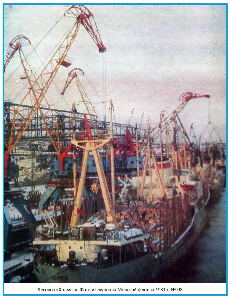 Морские лесовозы у причала в порту