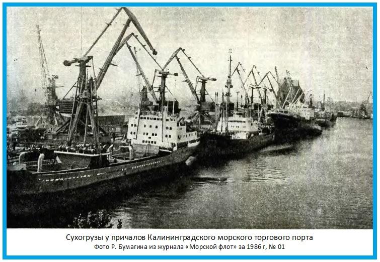 Сухогрузы у причалов Калининградского морского торгового порта.