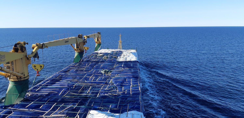 Сухогруз с пиломатериалами в океане