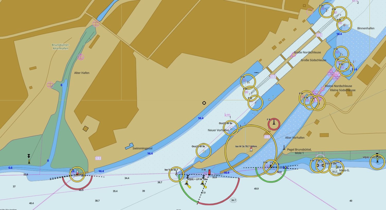 Карта подходного канала и шлюзов в Брюнсбюттеле.