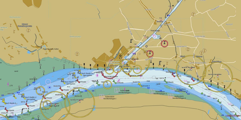 Карта участка реки Эльбы со шлюзом Брюнсбюттель.
