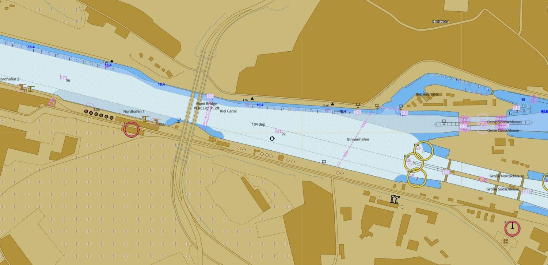 Карта подходов к шлюзу Хольтенау